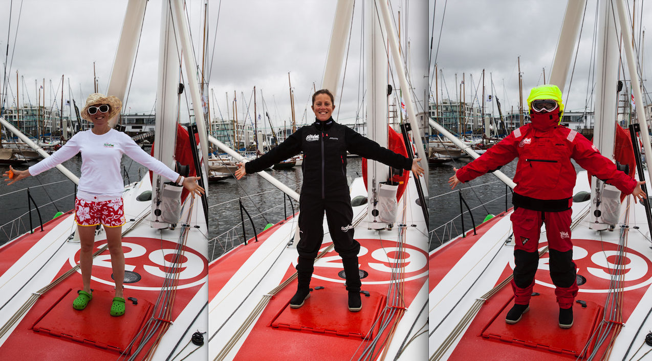 """Brest, 2012. La navigatrice Sam DAVIES, avec différentes tenues, sur son bateau """"SAVEOL""""."""