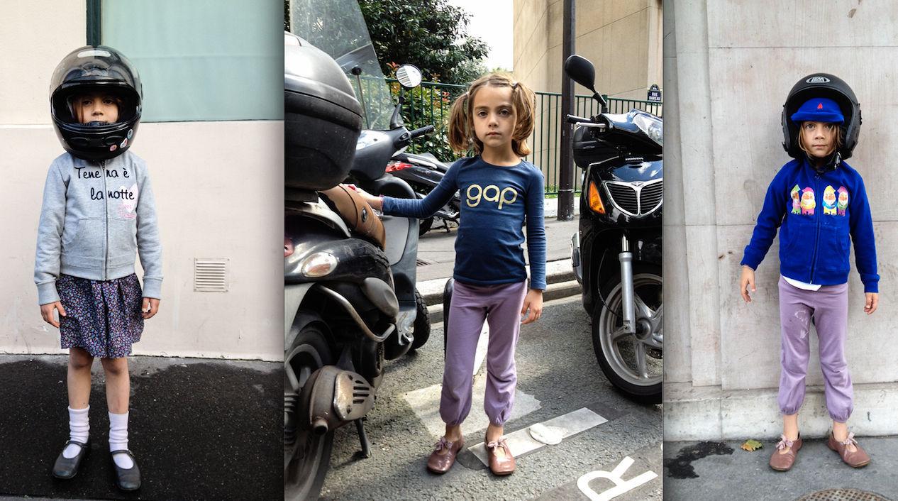 Jeune fille qui circule en scooter.