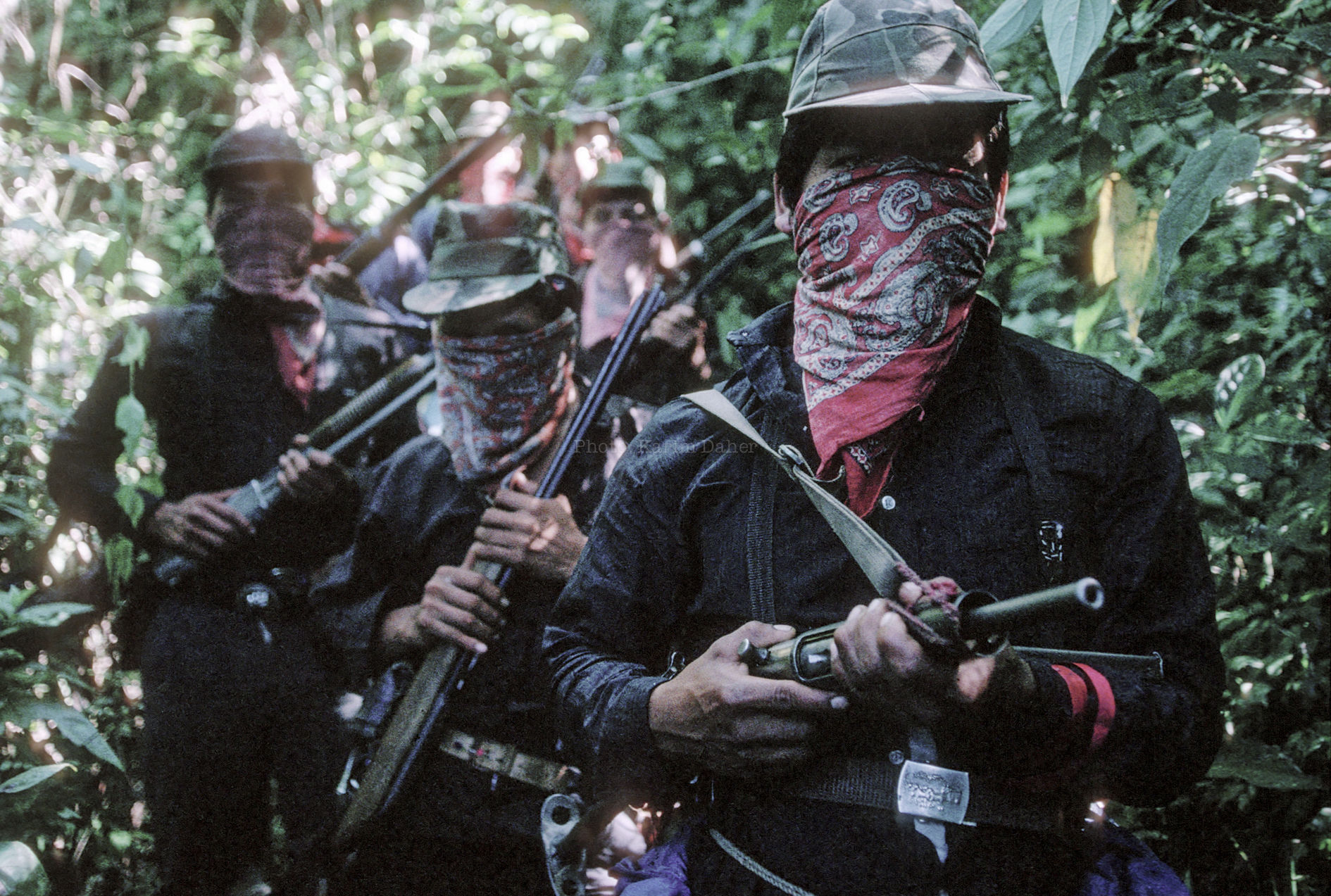 Mexique, Chiapas,1994. Membres de l'EZLN du sous commandant Marcos.