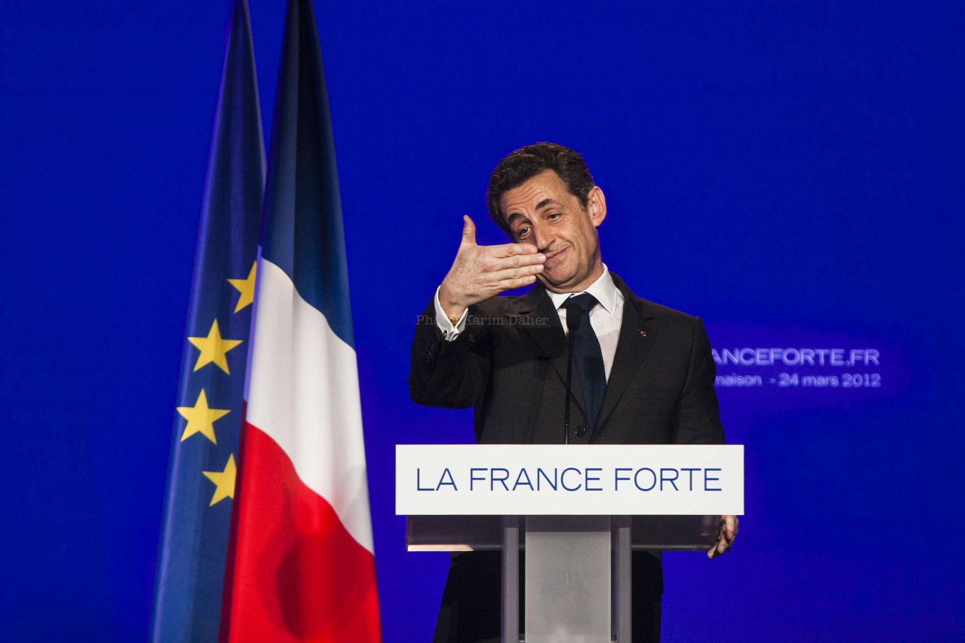 Campagne présidentielle 2012. Meeting de Nicolas Sarkozy.
