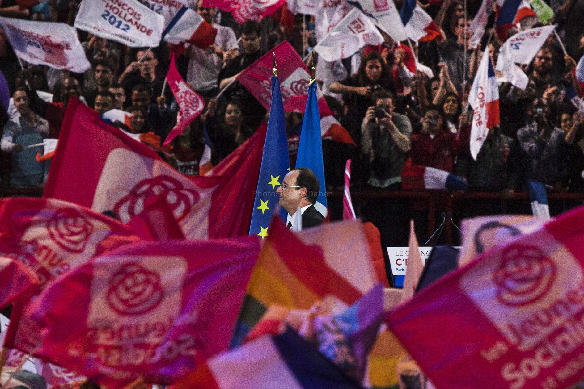 Campagne présidentielle 2012. Meeting de François Hollande.